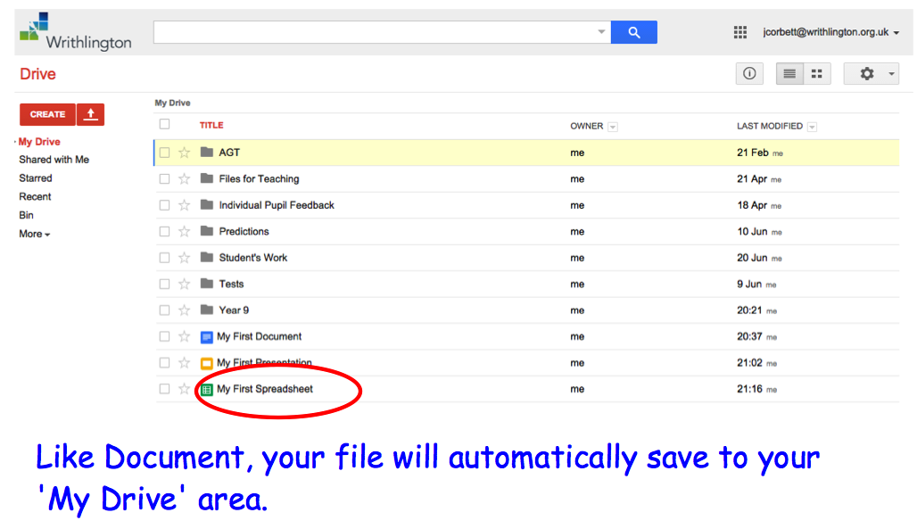 how to create a spreadsheet on google drive